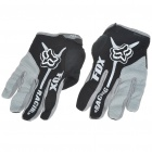 FOX Full Finger Motorcycle Racing Gloves - Black + Grey (XL Size/Pair)