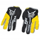 FOX Full Finger Motorcycle Racing Gloves - Black + Yellow (M Size/Pair)