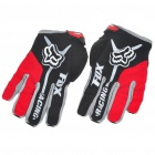 FOX Full Finger Motorcycle Racing Gloves - Black + Red (XL Size/Pair)