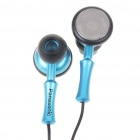 Retractable Noise Isolation In-Ear Earphone - Black + Blue (3.5mm Jack/70CM-Cable)
