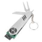 Golf Brush + Pitch Fork + Knife + Ball Pen Toolkit Keychain