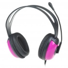 Stylish On-Ear Stereo Headset with Microphone and Volume Control - Rose Red (3.5mm Jack/1.8M-Cable)