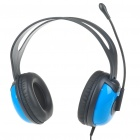 Stylish On-Ear Stereo Headset with Microphone and Volume Control - Blue (3.5mm Jack/1.8M-Cable)