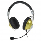 Stylish On-Ear Stereo Headset with Microphone and Volume Control - Golden (3.5mm Jack/1.7M-Cable)