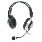 Stylish On-Ear Stereo Headset with Microphone and Volume Control - Silver (3.5mm Jack/1.5M-Cable)
