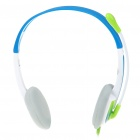 Stylish On-Ear Stereo Headset with Microphone and Volume Control - Blue (3.5mm Jack/1.9M-Cable)