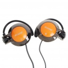 Fashion Stereo Ear-Hook Headset Earphone with Microphone - Orange + Black (3.5MM-Jack/200CM)