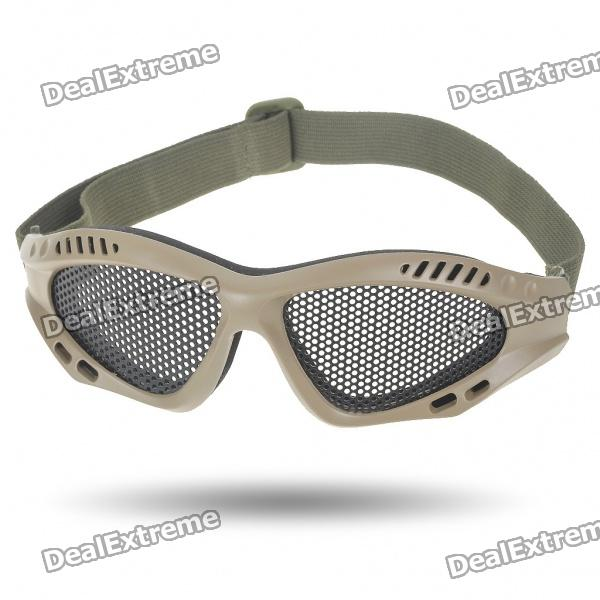 Outdoor Safety Eye Protection Metal Mesh Shield Goggle - Black + Brown