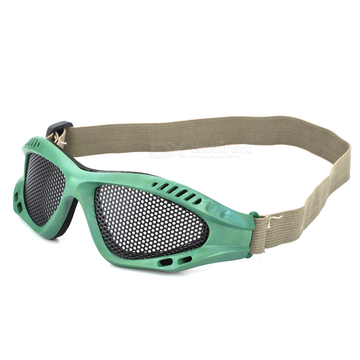Outdoor Safety Eye Protection Metal Mesh Shield Goggle - Black + Green  green 50mm width 2m 2t flat eye to eye web lifting strap tow strap
