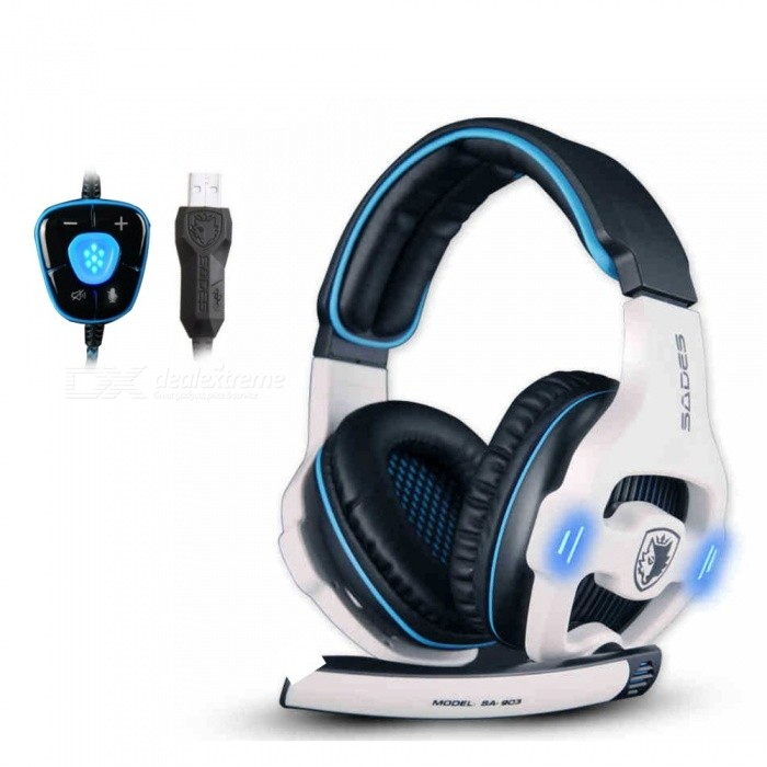 Image of SA 903 Computer Game Headset Wearing Ear Protection 7 1 Channel Usb Computer Headset Red