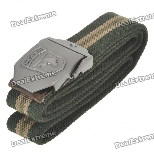 Tactical Durable Canvas Belt with Alloy Buckle - Buckle Pattern Assorted (Army Green/110CM-Length)