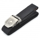 Tactical Durable Canvas Belt with Alloy Buckle - Buckle Pattern Assorted (Black/110CM-Length)