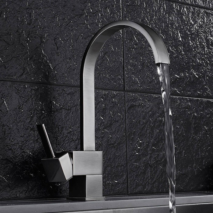 Brass Brushed 360 Degree Rotatable Single Handle One-Hole with Ceramic Valve, Kitchen Faucet - Brushed