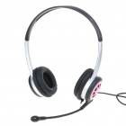 Fashion Stereo Headset Earphone with Microphone - Pink + Silver + Black (3.5MM-Jack/180CM)