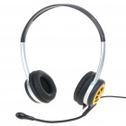 Fashion Stereo Headset Earphone with Microphone - Yellow + Silver + Black (3.5MM-Jack/180CM)