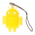 Glow-in-the-Dark Android Robot Doll Toy Cell Phone Strap - Yellow