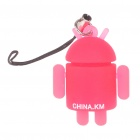 Glow-in-the-Dark Android Robot Doll Toy Cell Phone Strap - Red