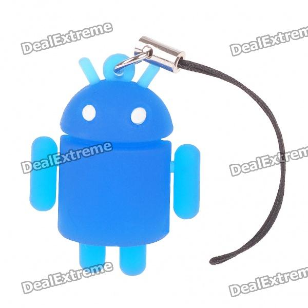 все цены на Glow-in-the-Dark Android Robot Doll Toy Cell Phone Strap - Blue онлайн