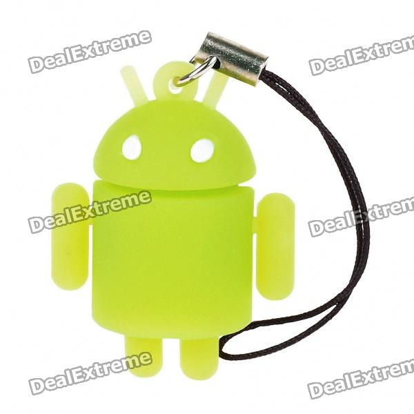 все цены на Glow-in-the-Dark Android Robot Doll Toy Cell Phone Strap - Green онлайн