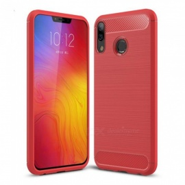 Naxtop Wire Drawing Carbon Fiber Textured TPU Brushed Finish Soft Phone Back Cover Case For Lenovo Z5 - Red