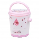 Cute Bucket Shaped Hand Cranked Rotary Pencil Sharpener - Pink