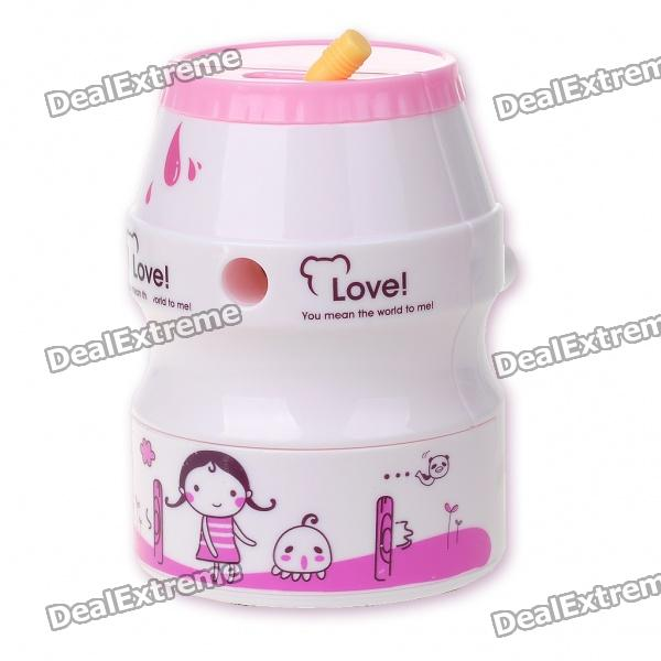 Cute Can Shaped Hand Cranked Rotary Pencil Sharpener - Pink