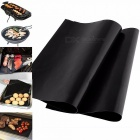 Reusable Non-stick Surface BBQ Grill Mat, Baking Sheet, Easy Clean Grilling Hot Plate For Picnic Camping Black
