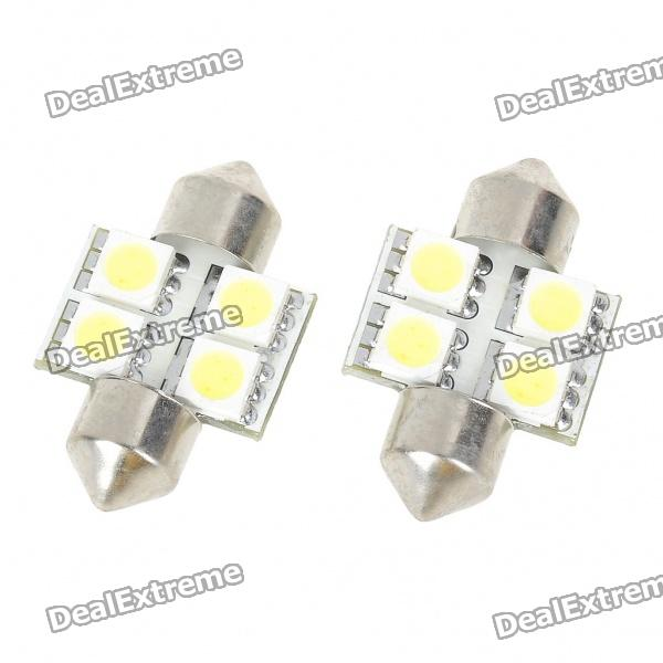 30mm 0.8W 6500K 84LM 4-SMD LED Car White Light Reading Lamp Bulbs (DC 12~18V/Pair) lx 3w 250lm 6500k white light 5050 smd led car reading lamp w lens electrodeless input 12 13 6v