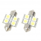 30mm 0.8W 6500K 84LM 4-SMD LED Car White Light Reading Lamp Bulbs (DC 12~18V/Pair)