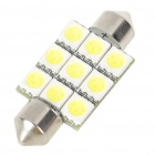 38mm 1.8W 6500K 180LM 9-SMD LED Reading Lamp/Boot Lamp White Light Bulb (DC 12~18V)