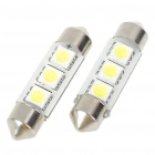 38mm 0.6W 6500K 60LM 3-SMD LED Reading Lamp/Boot Lamp White Light Bulbs (DC 12~18V/Pair)
