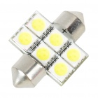 30mm 1.2W 6500K 110LM 6-SMD LED Reading Lamp/Boot Lamp White Light Bulb (DC 12~18V)
