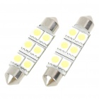 44mm 1.2W 6500K 110LM 6-SMD LED Reading Lamp/Boot Lamp White Light Bulb (DC 12~18V/Pair)