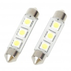 44mm 0.6W 6500K 60LM 3-SMD LED Reading Lamp/License Plate White Light Bulb (DC 12~18V/Pair)