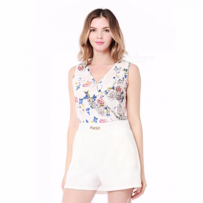 e2b919e06e4b Summer Women Sleeveless Bodysuit Floral Printed Straps Jumpsuits One Piece  Pants Clothing Jumpsuit White XL - Worldwide Free Shipping - DX