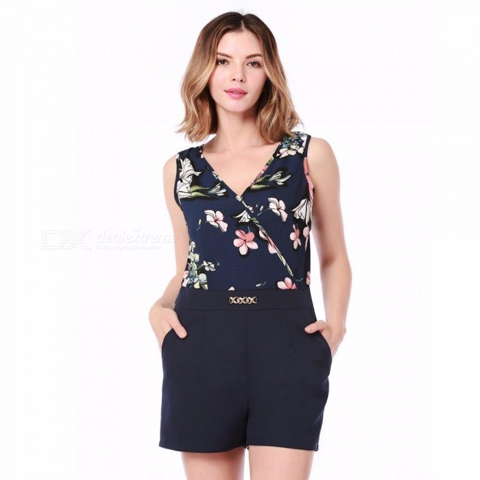 5f7329164e2b ... Summer Women Sleeveless Bodysuit Floral Printed Straps Jumpsuits One  Piece Pants Clothing Jumpsuit White XL ...