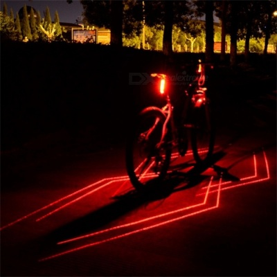 Outdoor Night Cycling Bicycle Tail Light Lamp LED Red Light Laser Line Warning Bike Rear Light USB Rechargeable Red
