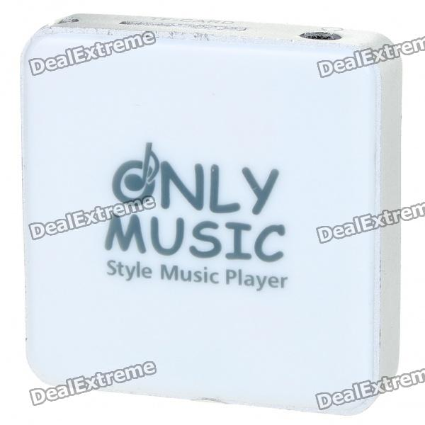 Stylish Mini USB Rechargeable MP3 Player - White (Support 8GB TF Card)