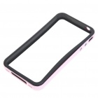 Protective Bumper Frame Case Cover + Screen Guards + Cleaning Cloth for iPhone 4 - Pink + Black
