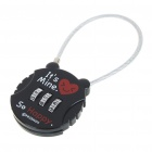 Resettable 3-Digit Compact Padlock with Chain - Black