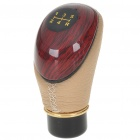 Vintage Universal Imitation Mahogany PU Leather Car Shift Gear Knob (Black + Beige)