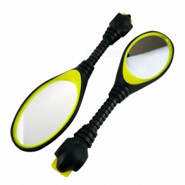 New Bicycle Cycling Handlebar Rear View Mirror Montain Bike Accessories Plastique Mirror Reflector - Yellow Black