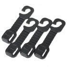 Vehicle Seat Plastic Hard Duty Car Hooks - Black (4-Hook Pack)