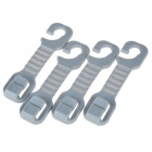 Vehicle Seat Plastic Hard Duty Car Hooks - Grey (4-Hook Pack)