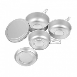 OUT-D outdoor picknick picknick 6-in-1 mini-pannenset van aluminiumlegering - zilver
