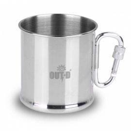 OUT-D  250ML Stainless Steel Camping Mug w/ Foldable Self-lock Carabiner Handle - Silver