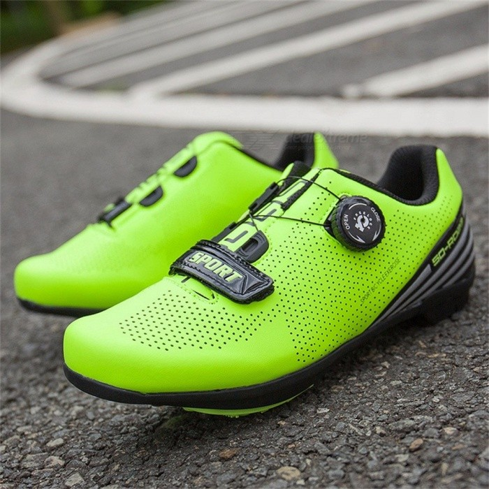 SOUBU R023 Outdoor Cycling Road Bike Lock Shoes Breathable Light Bicycle Shoes With Reflective Stripes Red/10.5
