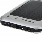 Solar Powered Rechargeable 2600mAh Portable Power Pack with Charging Adapter & Flashlight - Silver