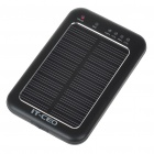 Solar Powered Rechargeable 2600mAh Portable Power Pack with Charging Adapter & Flashlight - Black