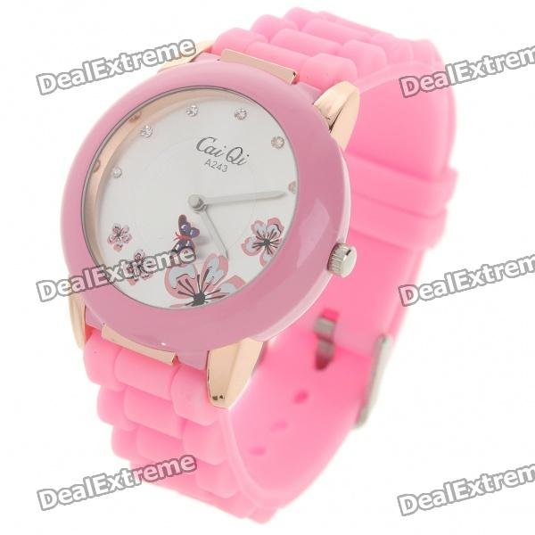 Fashion Quartz Wrist Watch with Butterfly Shaped Pointer - Pink (1 x 377)